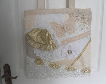 Handmade strong Shabby chic shopping/ tote bag