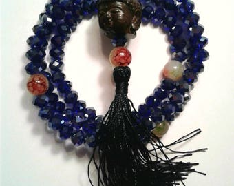 Handmade Mala 108 Prayer Beads Buddha head glass rosary necklace bracelet