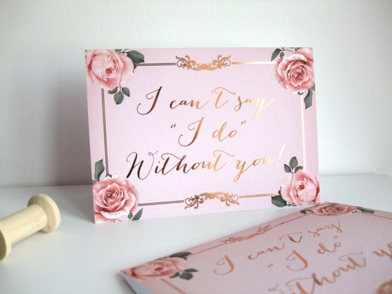 Bridesmaid Card - Luxe Rose Gold Foiled