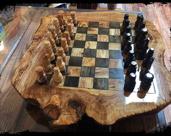 Handcrafted Olive Wood Chess Set 20""