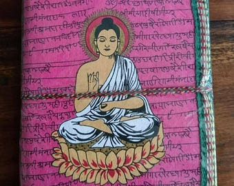 Indian notebook, travel journal, blank notebook, Buddha, gifts for her