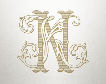 Interlocking Wedding Monogram - KN NK - Interlocking Monogram - Digital