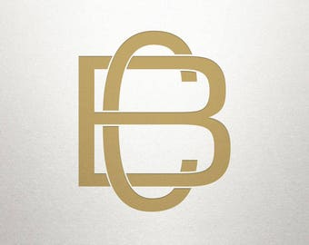 Overlapping Letters Design - BC CB - Overlapping Letters - Digital