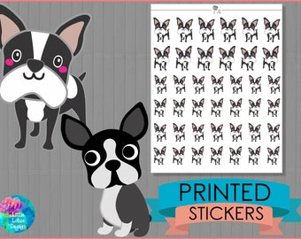 I Love My Boston Terrier Stickers : [PRINTED STICKERS], planner stickers, erin condren, happy planner, dog, dogs, puppy, Boston Terrier