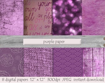 Purple Paper, DIGITAL PAPER, Printable  Background, Glitter Scrap Paper, Wood Pattern, Old Paper, Grunge Texture, Digital Lilac Flowers