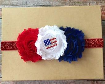 Fourth of July Headband, 4th of July Headband, Baby Headband, Patriotic Headband, Newborn Headband, Infant Headband, Baby Girl Headband