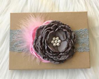 Gray Headband, Pink and Gray Headband, Lace Headband, Baby Headband, Baby Girl Headband, Infant Headband, Newborn Headband, Girl Headband