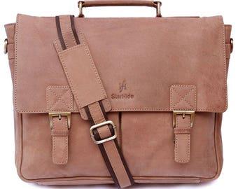 """Strahide Handmad Brown distressed hunter genuine leather travel messenger briefcase Satchel bag 15"""" laptop tablet shoulder top handle bag"""