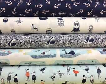 Dark and Stormy Collection Bundle by Dear Stella, Nautical, Sailing, Nautical, 5 Fabrics, Choose the Cut