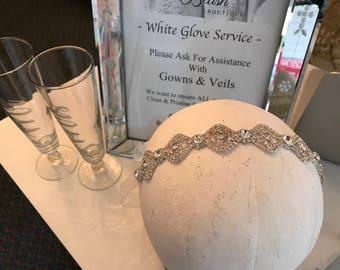 CUSTOM / Organza Ribbon & Rhinestones Wedding Sash / Thin Headband / Rhinestone Headband / Organza Sash / Sparkly / Wedding Black Tie