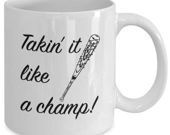 LIKE A CHAMP! - Negan & Lucille Mug - The Walking Dead Fan Gift - 11 oz white coffee tea cup