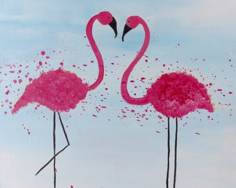 Pink Flamingos Print, Flamingo Picture, Pair of Flamingos, Tropical Wall Art, Flamingo Decor, Bathroom Art, Mother's Day gift, Gift for her