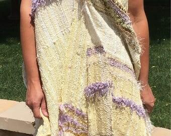 Saori handwoven sun dress