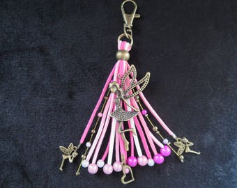 """""""fairy"""" bag charm with pearls magic fuchsias and roses"""