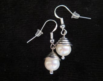 earrings with white freshwater cultured pearls
