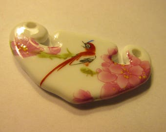 Long-Tailed Bird on Cherry Blossom Tree Ceramic Pendant, 2""