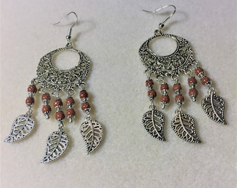 """Earrings """"Eastern sand Brown and silver stones"""""""
