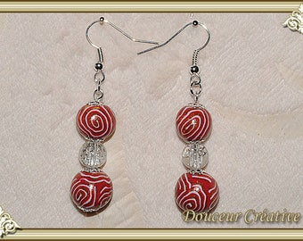 Red white gold earrings gold Pearl 104023