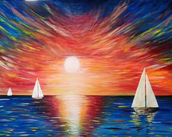 Original Abstract, modern art painting  Uninhibited acrylic on canvas ocean sunset boat sailing 75 x 100cm