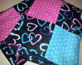 Heart Baby/Toddler Blanket in Pink and Blue