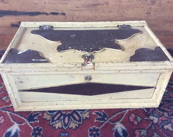 Antique Primitive wooden chest tool box rustic country home decor