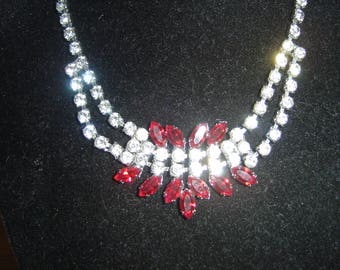 Vintage Diamante/Rhinestone Pretty Red & White Delicate Necklace. .Stunning..Old Fashioned Hollywood.Glitz  and Glamour