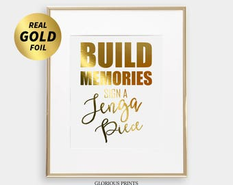 Build Memories Wedding Jenga Sign for Giant Jenga Wedding Guest Book, Jenga Guestbook Sign, Wooden Jenga Pieces Sign In, Gold Foil Wedding