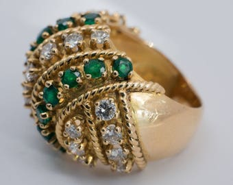 1960s 18K Yellow Gold Yellow Emerald and Diamond Ring, size 5.5