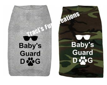 Baby's Guard DogTank Top. Small Pet Clothes. Custom Dog Shirts, Baby's Guard Dog, Guard Dog