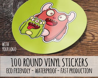 100 Custom Waterproof Stickers-,  Round Vinyl Stickers, Round Labels, Waterproof Labels, Product Labels,  custom stickers,  custom labels,
