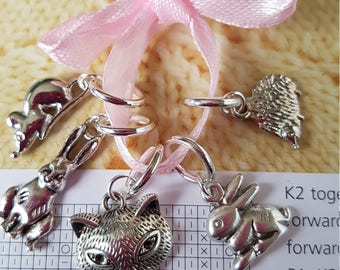 5 Knitting stitch markers. British wildlife