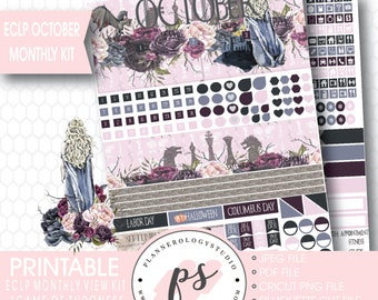 Game of Thrones GOT October 2017 Monthly View Kit Printable Planner Stickers (for Erin Condren) | JPG/PDF/Silhouette Compatible Cut File