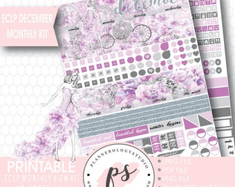 Cinderella December Monthly View Kit Printable Planner Stickers (for Erin Condren ECLP) | JPG/PDF/Silhouette Cut File
