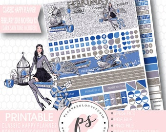 Hogwarts Fun February 2018 Monthly View Kit Printable Planner Stickers (Dark & Light Skin Tone) (for Classic Happy Planner)|JPG/PDF/Cut File