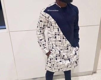Men's African Wear, White with Navy Blue Design, African Print, African Designs, African Clothing, African Fashion