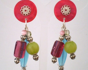Earring clip Nina multicolor (made in France)