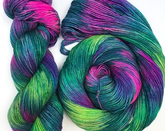 Mystic- Hand dyed yarn, Bluefaced Leicester, sock weight, Superwash BFL, 438 yards