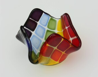 Rainbow fused glass tealight holder, a candle holder in rainbow squares