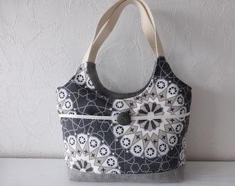 Handbag, canvas, black, white, modern, handmade