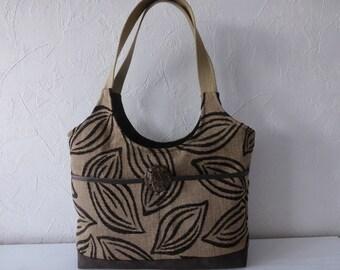 Hand bag, woman, jacquard, beige and Brown, modern fabrics, autumn