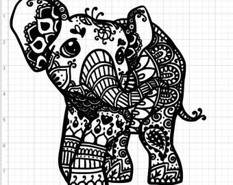 Mandala Style Baby Elephant SVG PDF EPS Dxf & Studio 3 Cut Files