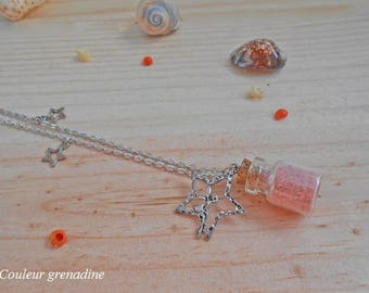 Magical glass vial necklace, fairy on Moon Star sand rose, gift celebrating the grand mothers, Easter