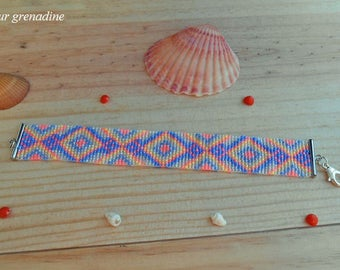 Geometric woven Cuff Bracelet multicolor miyuki beads, gift celebrating the grand mothers, Easter