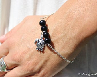 Turtle bracelet black beads, gift idea party a grand mothers, Easter