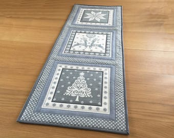 Grey Table Runner, Scandi Table Runner, Christmas Table Topper, Quilted Wall Hanging, Grey Table Centrepiece, Holiday Table Runner