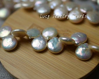 DIY wholesale natural peach coin pearl,teardrop pearl,freshwater pearl necklace,loose pearl 12-13mm54pcs wedding Full Strand LY3105