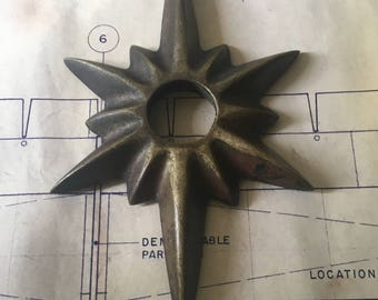 Mid Century Modern Starburst Sunburst Cast Solid Brass Escutcheon Plate