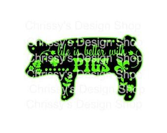 pig svg / piglet svg / show pig svg / farmer svg / animal svg / farm animals svg / vinyl crafts / pig clip art / pig dxf / piglet clip art