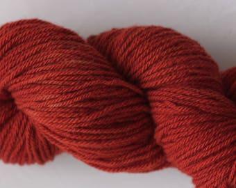 Plant dyed 100% wool yarn- Deep red brown