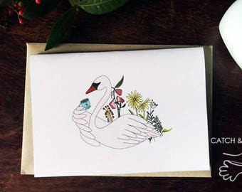 Swan having tea birthday, valentine, anniversary card